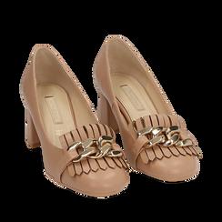 Mocassins beige en simili-cuir avec des franges et une maxi-chaîne, talon de 6 cm, Chaussures, 152186582EPNUDE035, 002a