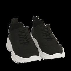 Sneakers nere in tessuto , Primadonna, 159701163TSNERO036, 002a