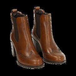 Ankle boots cuoio in pelle, tacco 7,50 cm, Primadonna, 167738004PECUOI036, 002 preview