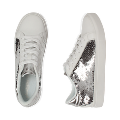 Sneakers con paillettes argento , Scarpe, 152602021PLARGE036, 003 preview