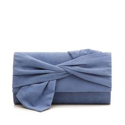 Pochette azzurra in microfibra con fiocco, Borse, 132300508MFAZZUUNI, 001a