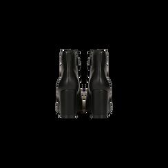Tronchetti neri con punta affusolata, tacco 7,5 cm, Scarpe, 128485161EPNERO, 003 preview