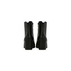 Tronchetti neri in vera pelle con elastico, tacco quadrato 5 cm, Primadonna, 127722101PENERO, 003 preview