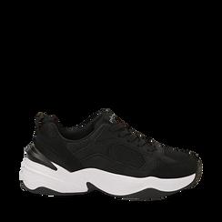 Dad shoes nere in microfibra, zeppa 4,50 cm, Sneakers, 142619462MFNERO035, 001a