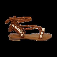 Sandali lace-up cuoio in microfibra con conchiglie, Scarpe, 154948229MFCUOI, 001 preview