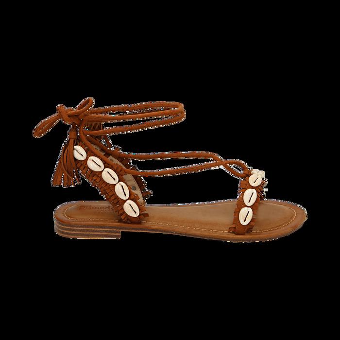 Sandali lace-up cuoio in microfibra con conchiglie, Scarpe, 154948229MFCUOI