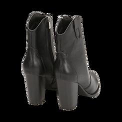 Camperos neri in eco-pelle, tacco 9 cm, Stivaletti, 154930037EPNERO035, 004 preview