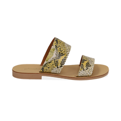Mules flat gialle in vernice effetto snake skin, Saldi Estivi, 136767003PTGIAL035, 001 preview