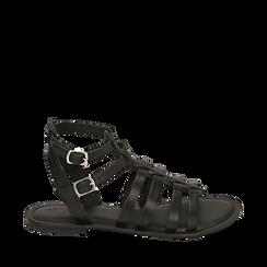 Sandali neri in pelle, 156707420PENERO035, 001a