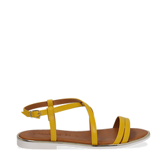 Sandali flat gialli in eco-pelle, Primadonna, 136102003EPGIAL036, 001a