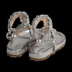 Sandali infradito gioiello argento in eco-pelle laminata, Chaussures, 154951992LMARGE036, 004 preview