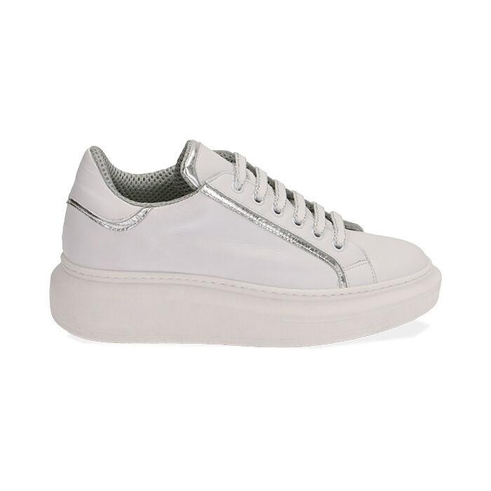 Baskets en cuir blanc/argent, Primadonna, 17L600101PEBIAR035