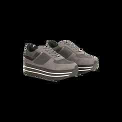 Sneakers grigie con maxi platform a righe bianche e nere, Primadonna, 122707075MFGRIG035, 002