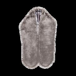 Coprispalla in eco-pelliccia grigia, Saldi, 12B414001FUGRIGUNI, 002 preview