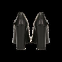 Décolleté nere in vera pelle con cinturini, tacco quadrato 10 cm, Scarpe, 12D614411VINERO, 003 preview