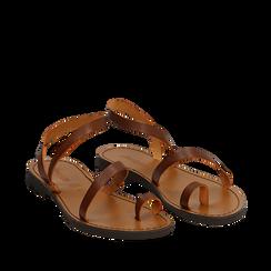 Sandali minimal cuoio in pelle di vacchetta, 138100064VACUOI035, 002a