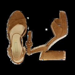 Sandali marroni in microfibra con fasce incrociate, tacco a colonna 10,5 cm, Sandali con tacco, 132118585MFMARR035, 003 preview