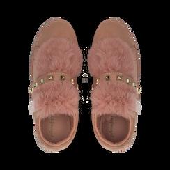 Sneakers rosa nude slip-on con dettagli faux-fur e borchie, Primadonna, 129300023MFNUDE036, 004 preview
