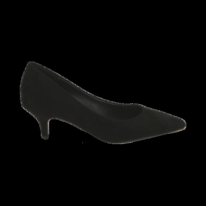 Décolleté nere in microfibra, tacco 5,50 cm , Primadonna, 162187131MFNERO035