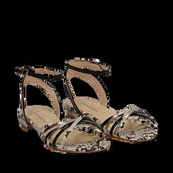 Sandali flat multilistino nero in eco-pelle, effetto snake skin, Scarpe, 132174722PTNERO035, 002a