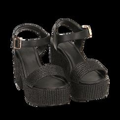 Sandali neri in rafia, tacco-zeppa 10 cm , Chaussures, 154955172RFNERO036, 002a