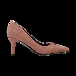 Décolleté scamosciate rosa nude con punta affusolata, tacco medio 7,5 cm, Scarpe, 122111552MFNUDE, 001 preview