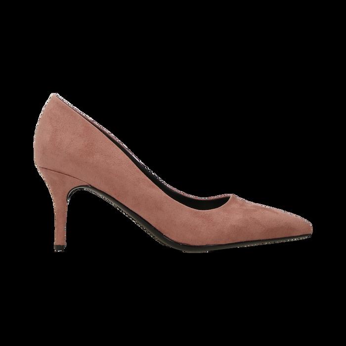 Décolleté scamosciate rosa nude con punta affusolata, tacco medio 7,5 cm, Scarpe, 122111552MFNUDE