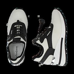 Sneakers bianche in tessuto con zeppa, Primadonna, 152803421TSBIAN036, 003 preview