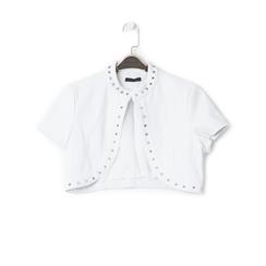 Giacca bolero bianca in eco-pelle con borchie, Saldi Estivi, 136518172EPBIANL, 001 preview