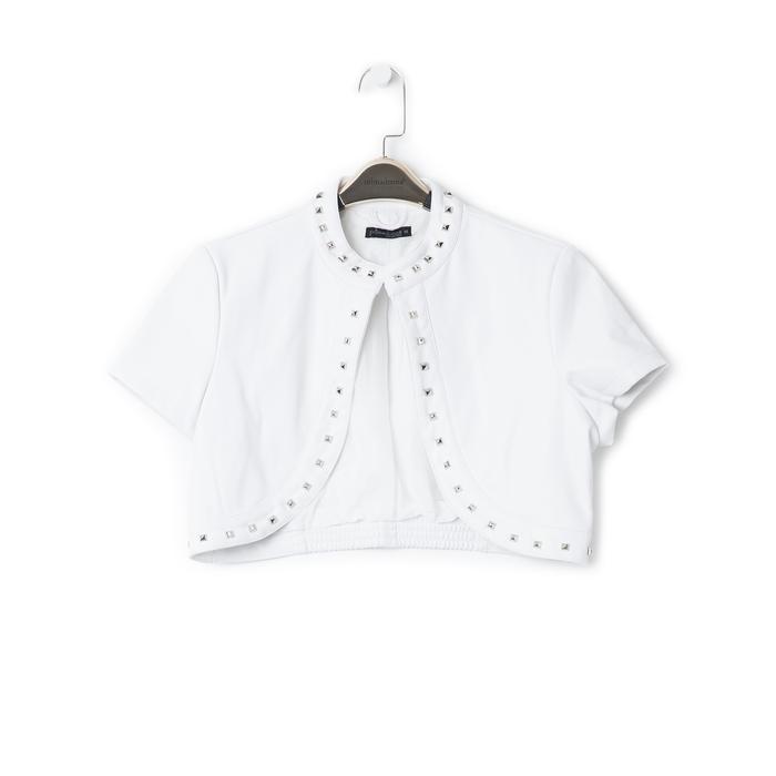 Giacca bolero bianca in eco-pelle con borchie, Saldi Estivi, 136518172EPBIANL