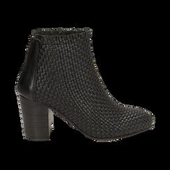 Ankle boots neri in pelle intrecciata, tacco 7,50 cm, Primadonna, 15C515018PINERO036, 001 preview