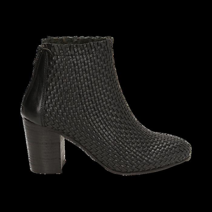 Ankle boots neri in pelle intrecciata, tacco 7,50 cm, Primadonna, 15C515018PINERO036