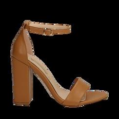 Sandali minimal cuoio in eco-pelle, tacco 10,5 cm , Sandali con tacco, 132133791EPCUOI036, 001a