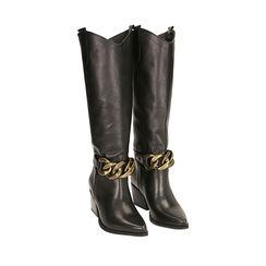 Camperos noirs en cuir, talon 7 cm , Primadonna, 18L601102PENERO036, 002a