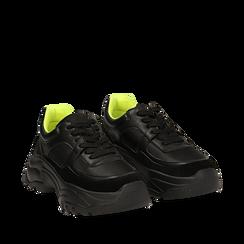Dad shoes nere in eco-pelle, zeppa 5 cm , Scarpe, 142509513EPNERO035, 002a