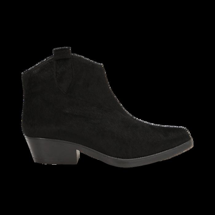 Stivaletti camperos neri in cavallino, tacco 4,5 cm, Primadonna, 12A403988CVNERO036