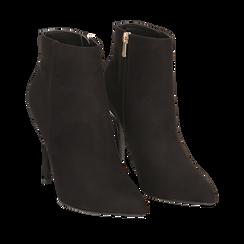 Ankle boots neri in microfibra, tacco 10,5 cm , Scarpe, 142168616MFNERO035, 002a