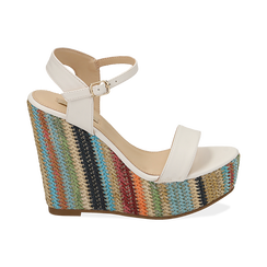 Sandali bianchi in eco-pelle, zeppa 12 cm , Chaussures, 154917229EPBIAN040, 001 preview
