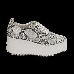 Sneakers bianche e nere in eco-pelle effetto snake print, zeppa 6 cm, Scarpe, 132008353PTBINE036, 001 preview