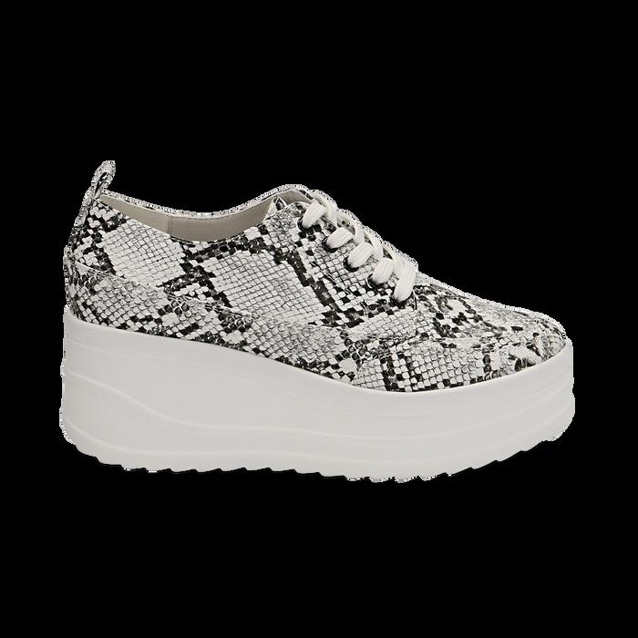 Sneakers bianche e nere in eco-pelle effetto snake print, zeppa 6 cm, Scarpe, 132008353PTBINE036