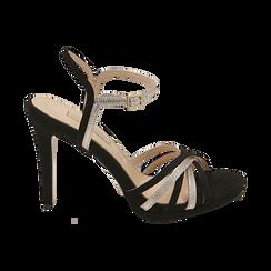 Sandali multilistino neri in microfibra, tacco 10,50 cm, OUTLET, 152174020MFNERO036, 001 preview