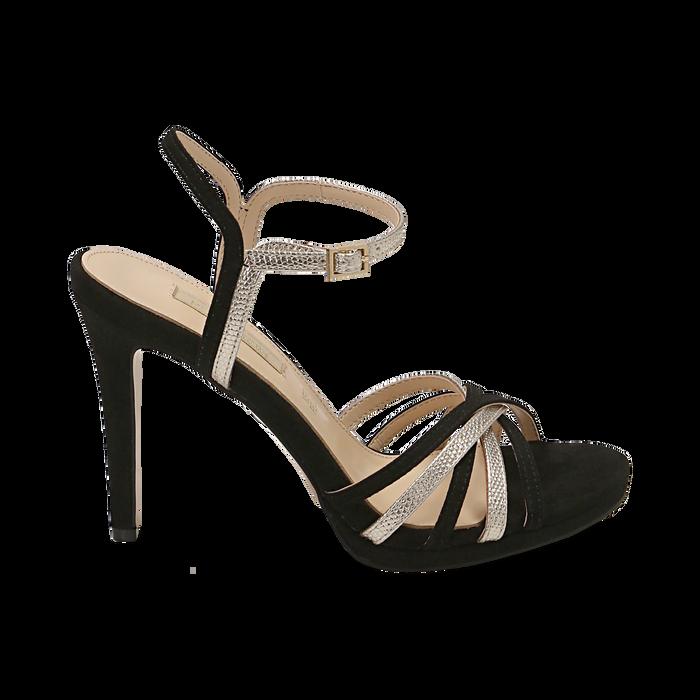 Sandali multilistino neri in microfibra, tacco 10,50 cm, OUTLET, 152174020MFNERO036