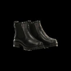 Chelsea Boots neri in vera pelle, Scarpe, 126905552VINERO035, 002