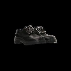 Stringate flat mannish nere in vera pelle, Scarpe, 127710812VINERO, 002 preview