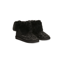 Scarponcini invernali neri con risvolto in eco-fur, Primadonna, 125001328MFNERO038, 002