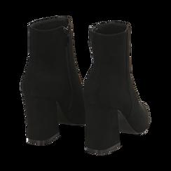 Ankle boots neri, tacco trapezio 8,5 cm , Stivaletti, 144961020MFNERO035, 004 preview
