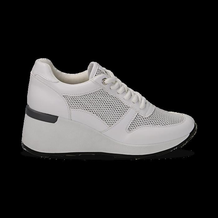 Sneakers bianche in eco-pelle con zeppa, Scarpe, 132008360EPBIAN036