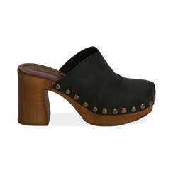 Clogs neri in nabuk , Chaussures, 154304861NBNERO036, 001 preview