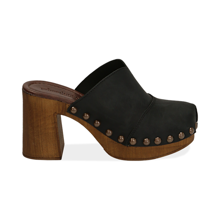 Clogs neri in nabuk , Chaussures, 154304861NBNERO036