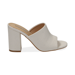 Mules bianche in eco-pelle cocco print, tacco 9 cm , Chaussures, 152783430CCBIAN036, 001 preview